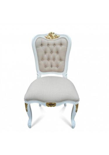 Cadeira Luis XIV Capitone em Madeira com Pinturas e Tecidos Personalizáveis