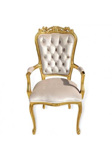 Cadeira Luis XV com Braço em Capitone Ouro Velho