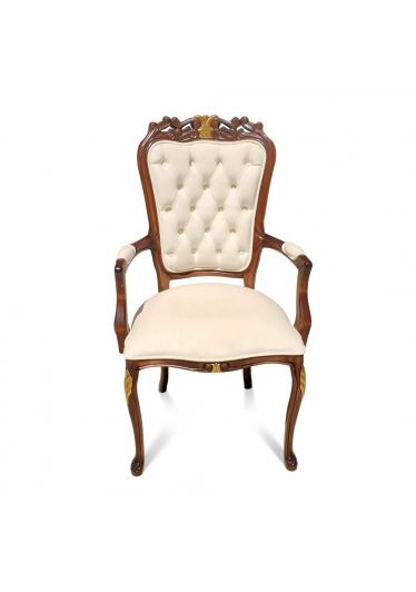 Cadeira Luis XV com Braço em Capitone com Pinturas e Tecidos Personalizáveis