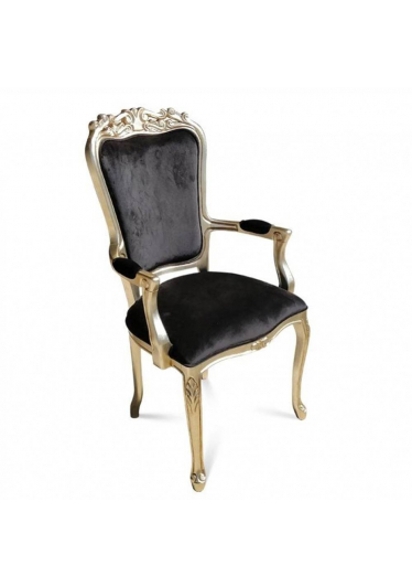 Cadeira Luiz XV Entalhada com Braço com Pinturas e Tecidos Personalizáveis