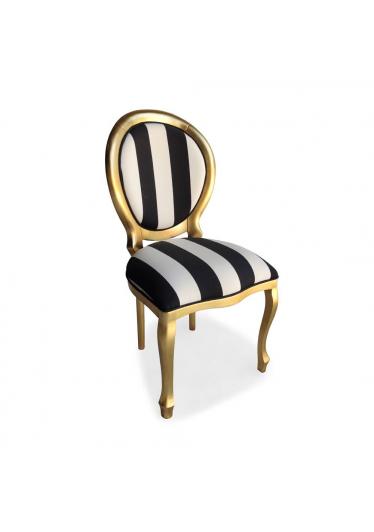 Cadeira Medalhão Lisa em Laca Dourada