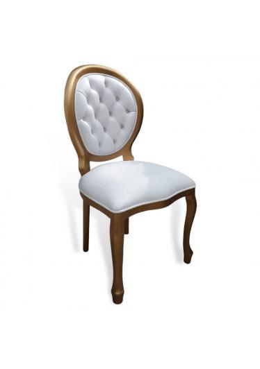 Cadeira Medalhão Capitone em Laca Dourada