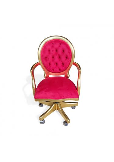 Cadeira Medalhão Giratória em Capitonê com Pinturas e Tecidos Personalizáveis