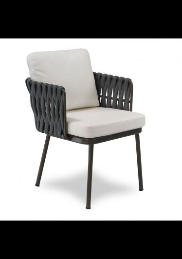 Cadeira Nath para Área Externa Trama Tricô Naútico Estrutura Alumínio Eco Friendly Design Scaburi