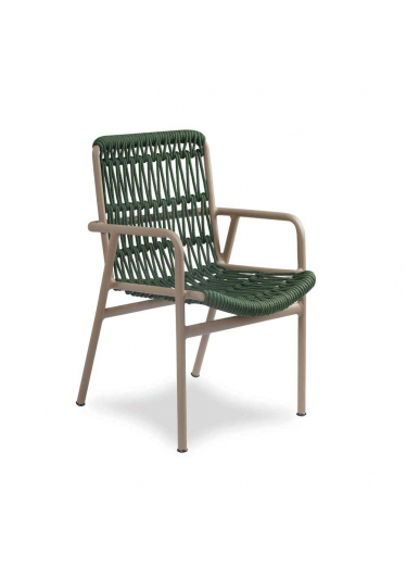 Cadeira Vino para Área Externa Trama Corda Náutica Estrutura Alumínio Eco Friendly Design Scaburi