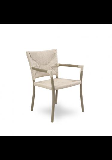 Cadeira Vitali com Braço para Área Externa Trama Corda Náutica Estrutura Alumínio Eco Friendly Design Scaburi