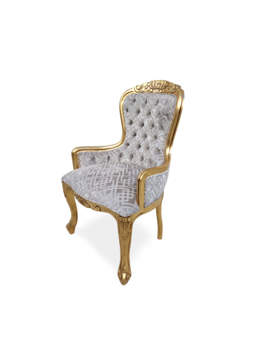 Cadeira Vitoriana Capitone em Madeira com Pinturas e Tecidos Personalizáveis