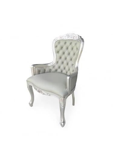 cadeira vitoriana folha prata couro legitimo