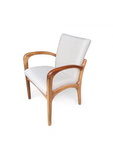 Cadeira VK com Braço Imbuia Linho