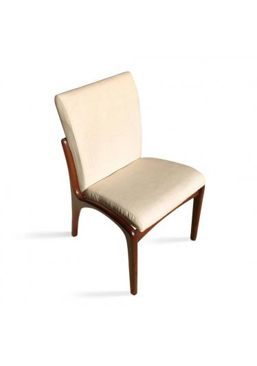 Cadeira Vladimir Kagan Imbuia com Linho