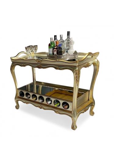 Carrinho de Bar Clássico Gourmet Entalhado Madeira Maciça Pintura Dourada Design de Luxo