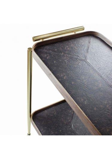 Carrinho de Bar Tanned Retangular Bandeja Nogueira e Couro Castanho Estrutura Aço Carbono Dourado Design Industrial e Minimalista