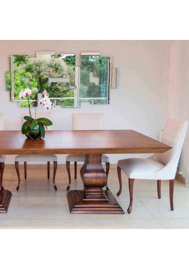 Mesa de Jantar Luce com 2 Bases Madeira Maciça Design Clássico Avi Móveis