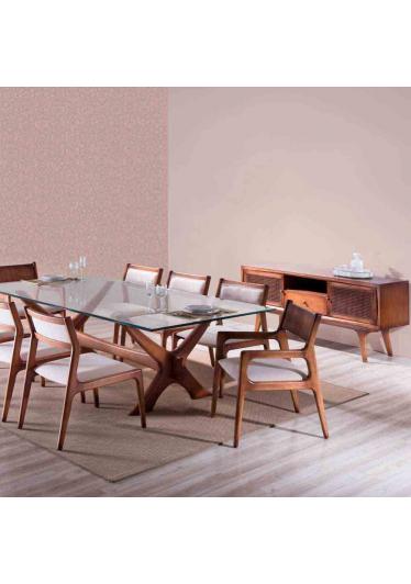 Mesa de Jantar Passione Tampo de Vidro Base em Madeira Maciça Design Clássico Avi Móveis