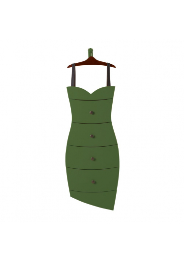 Cômoda Dress com Cabide Decorativo em Madeira Maciça Máxima Móveis