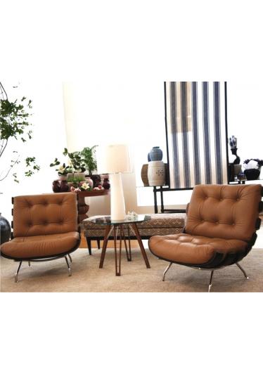 Poltrona Costela Multilaminado Castanho Estrutura Aço Inox Studio Mais Design by Martin Eisler