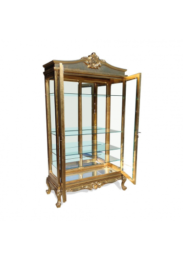 Cristaleira Luis XV em Madeira Maciça de Imbuia com Pinturas Customizadas