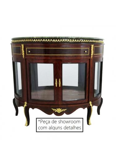 Cristaleira Dunquerque em Madeira estilo Luis XV Tampo de Marmore com Vidros e Espelhos