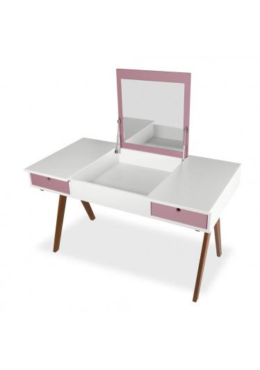 Escrivaninha Delacroix e Penteadeira Tampo Basculante com Espelho Interno Bicolor Máxima Móveis