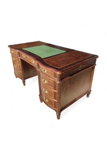 Escrivaninha Inglesa Tampo em Couríssimo Personalizado Madeira Maciça Design Clássico