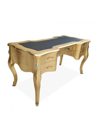 Escrivaninha Lord 5 Gavetas Tampo com Couro Madeira Maciça Folha de Ouro Design de Luxo
