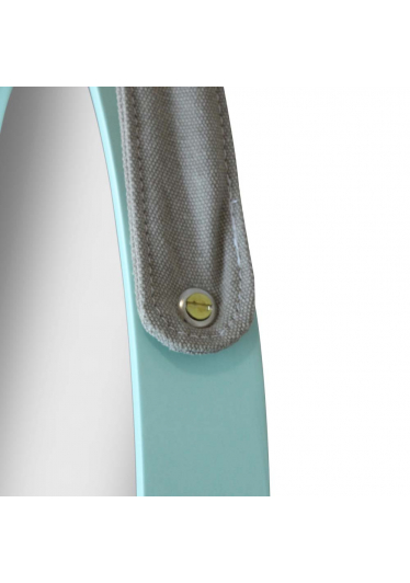 Espelho Belt em MDF Laqueado Cinto Lona Cedro Cor Natural Design Industrial e Minimalista