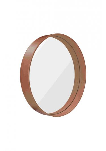 Espelho Phoenix Redondo Moldura Multilaminada e Lâmina Madeira Design Industrial e Minimalista