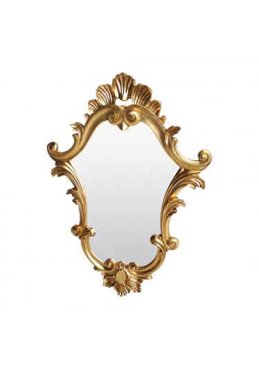 Espelho Clássico Verona Entalhado Resina Folha de Ouro Design de Luxo