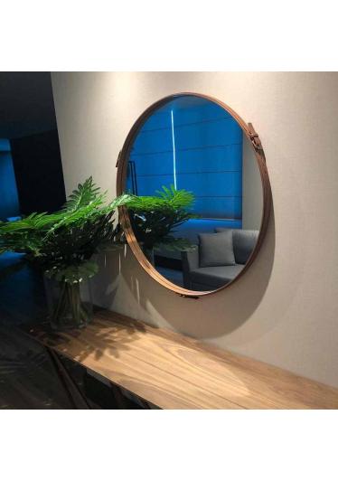 Espelho Lincoln MDF Laqueado Borda e Fivela Couro Natural Design Industrial e Minimalista