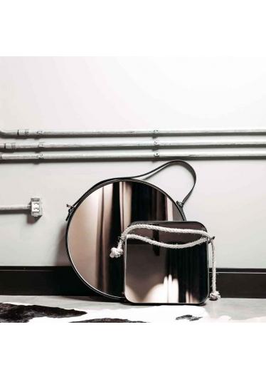 Espelho Vietnam Quadrado Corda Sisal Moldura Aço Carbono Preto Design Industrial e Minimalista