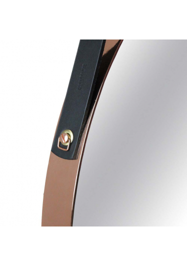 Espelho Apolo Alça Couro Soleta Preta Base em Aço Carbono Banhado Design Industrial e Minimalista