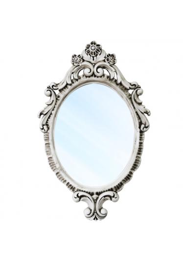 Espelho Turin Clássico em Resina e Pintura em Laca Branca com Pátina
