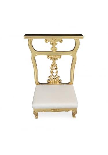 Genuflexório Individual com Pintura em Dourado e Tecidos Personalizados