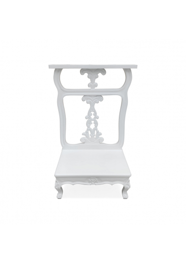 Genuflexório Individual Madeira Maciça Laca Branca Design de Luxo Peça Artesanal