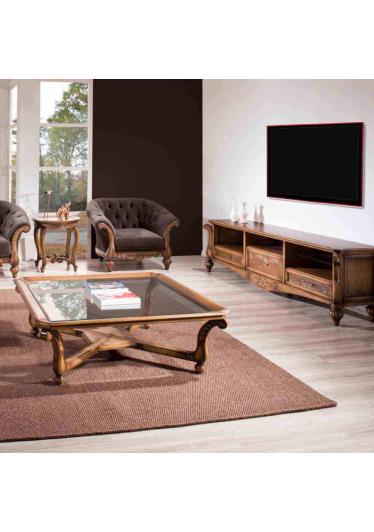 Mesa de Centro Luxo Tampo com Vidro Madeira Maciça Design Clássico Avi Móveis
