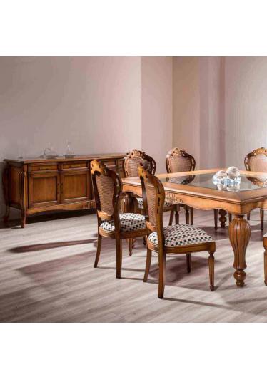 Mesa de Jantar Luxo Quadrada Tampo com Vidro Madeira Maciça Design Clássico Avi Móveis