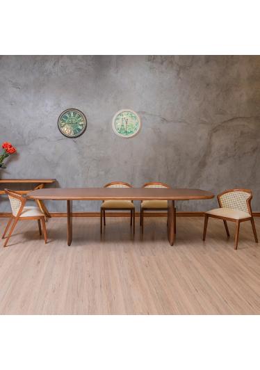 Mesa de Jantar Clara Madeira Maciça Design Clássico Avi Móveis