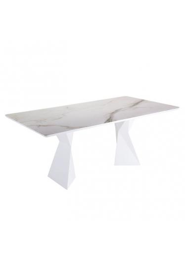 Mesa de Jantar Cubo Tampo com Vidro Base Aço Carbono Pintado Star Mobile Design by Sérgio Gomes