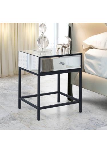 Mesa de Cabeceira Turim Espelhada com Gaveta Base Aço Carbono Pintura Epóxi RG Móveis e Decorações
