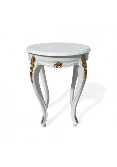 Mesa de Canto Napoleão Entalhada Madeira Maciça Design de Luxo