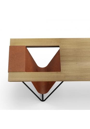 Mesa de Centro Arco com Revisteiro Base Aço Carbono Coleção Bari Tremarin Design by Ambos Studio