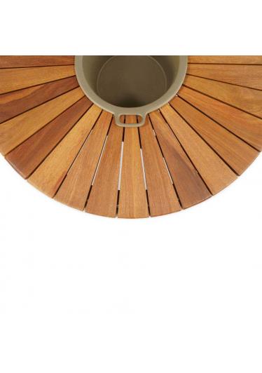 Mesa de Centro Fuji com Champanheira para Área Externa Trama Corda Náutica Estrutura Alumínio Eco Friendly Design Scaburi