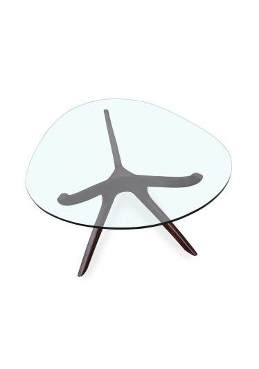 Mesa de Centro Palito Tampo Oval de Vidro Design Retrô