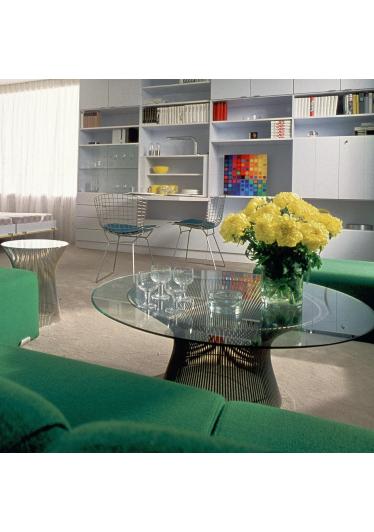 Mesa de Centro Platner Tampo de Vidro Estrutura em Aço Nolan Collection Design by Warren Platner