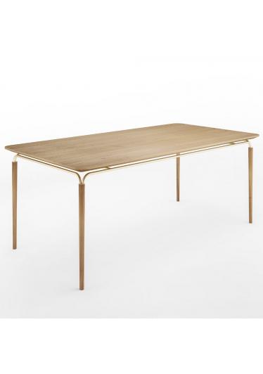 Mesa de Jantar Arco Base Aço Carbono Coleção Bari Tremarin Design by Ambos Studio