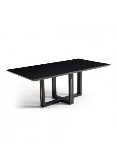 Mesa de Jantar Axi Estrutura Madeira Maciça Pés com Detalhe em Alumínio Design Atemporal e Moderno Casa A Móveis