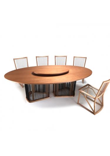Mesa de Jantar Izzi Oval Corda Náutica Madeira Eucalipto Design Studio Ozki