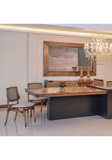Mesa de Jantar Enzo Madeira Maciça Design Clássico Avi Móveis