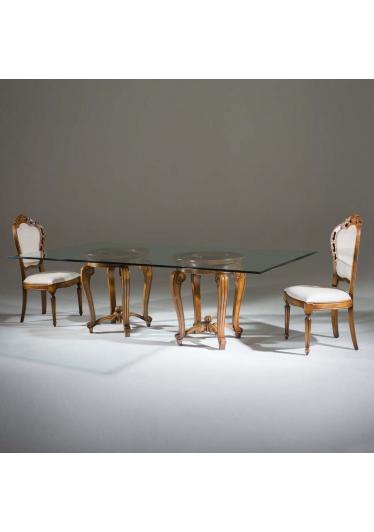 Mesa de Jantar Luxo com 2 Bases Madeira Maciça Design Clássico Avi Móveis