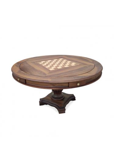Mesa de Jogo Antique Tampo Reversível Personalizado Madeira Maciça Detalhe em Marchetaria Design Clássico